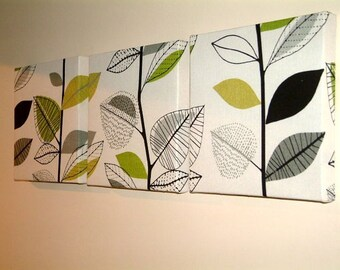 Set Of 3 Contemporary Modern Designer Retro Print Design Green Leaf Branch Tree Print Wall Hanging Canvases Wall Art Wall Decor NEW FABRIC