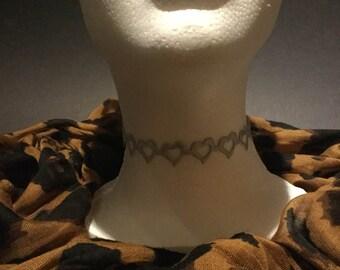 Handmade Gray Grey Silver soft open heart choker necklace.