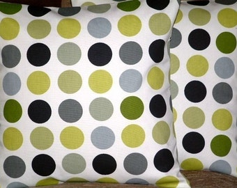 """2 18"""" Kiwi Green Spots Print Design Funky Contemporary Designer Retro Pillowcases,Cushion Covers,Pillow Covers,Throw Pillow,NEW FABRIC"""