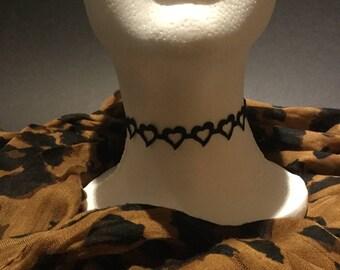 Handmade black open heart choker necklace.