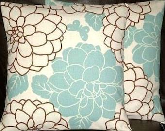 "2 16"" Contemporary Duck Egg Blue Flower Designer Retro Pillow Cases,Cushion Covers,Pillow Covers,Pillow"