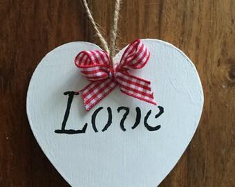 1x White wooden rustic heart door hanging hanger, decoration, sign, gift, baby gift, wedding love gift, wood plaque, handmade