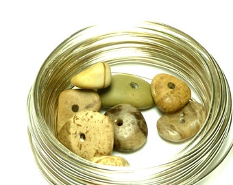 PALMETTO Genuine Drilled Beach Stones Pebbles Fossils Natural Lake Michigan Finds Jewelry Beads Center Drilled Honeycomb