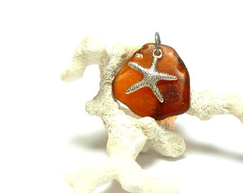 Sea Glass STARFISH on AMBER Drilled Amberina Beach Glass Authentic Honey Rootbeer Brown Resin Color Gem Seaglass Pebble Beach Stone