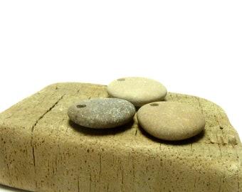 COCOA Drilled Beach Stones Focal Jewelry Beads 3 Charm Dangle Pendants Organic Rocks Surfer diy Jewels Lake Rocks Charming Jewellery