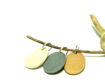 ROSE GOLD Drilled Beach Stones Focal Jewelry Beads 3 Charm Dangle Pendants Organic Rocks Surfer diy Jewels Lake Rocks