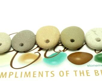 SAGE ADVICE Drilled Beach Stones Focal Jewelry Beads 3 Charm Dangle Pendants Organic Rocks Surfer diy Jewels Lake Rocks