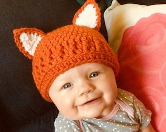 Baby Fox Hat 0-3-6 Months Beanie 4e4ae859775