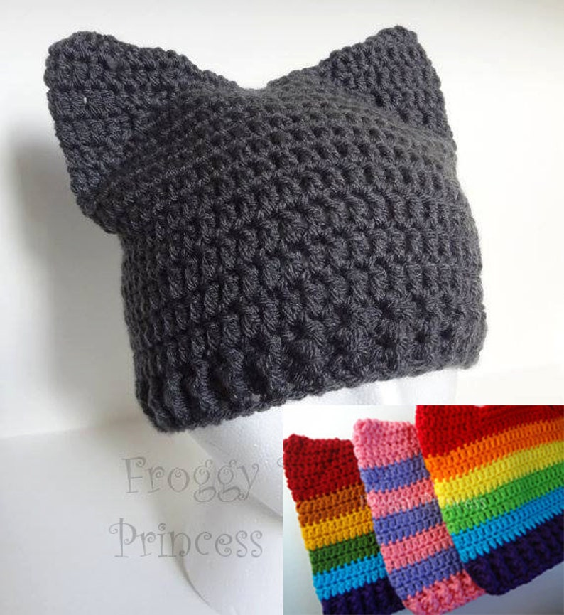 52e6163b0 Cat Hat, Kitty Hat, Rainbow Animal Ears Beanie, Crocheted Gift for Kids  Teens Adults