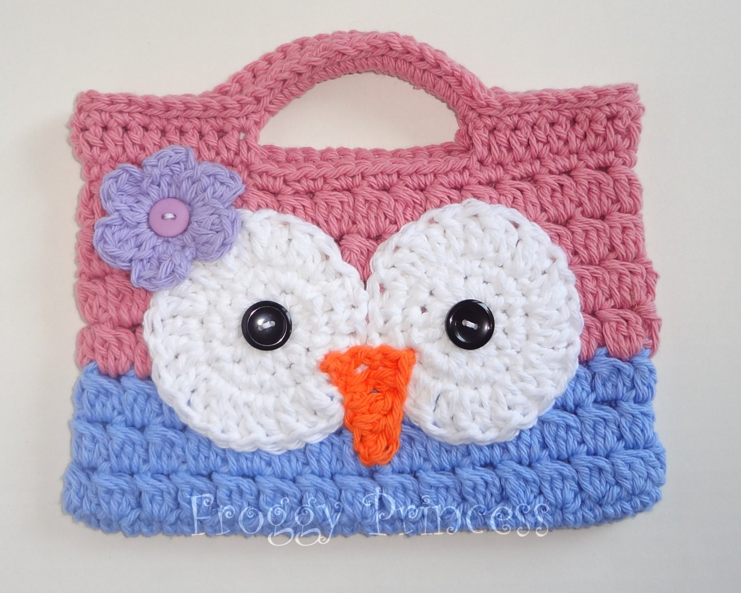 Owl Purse Pink And Blue Ready To Ship Hand Crocheted Toddler Etsy
