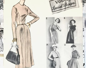 Vintage 1950's Women's Dress and Petticoat Sewing Pattern - Vogue 4741 - Size 16, Bust 36