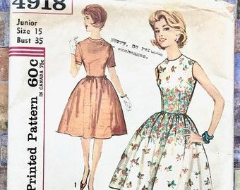 Vintage 1960's Women's?Junior's Full Skirt Dress Sewing Pattern - Simplicity 4918 - Junior Size 15, Bust 35 - Uncut