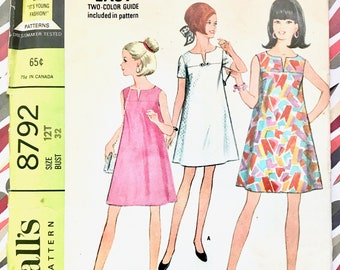 Vintage 1960's Teen Girl/Junior Tent Dress Sewing Pattern  - McCall's 8792