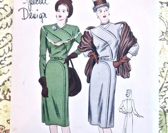 Vintage 1940s Womens One-Piece Dress Pattern with Dramatic Sectional Seaming - Vogue 4694