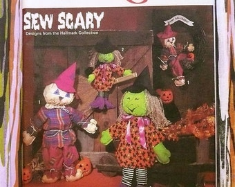 Vintage 1990s Halloween Pattern - Witch and Scarecrow Dolls - Simplicity 7418