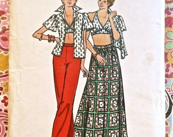 Vintage 1970s Womens Halter Top Outfit Pattern with Bouse, Pants, and Long Skirt - Butterick 3700