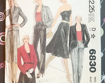 Vintage 1970's Women's Jacket, Pants, Skirt, and Bustier Sewing Pattern - McCall's 6830