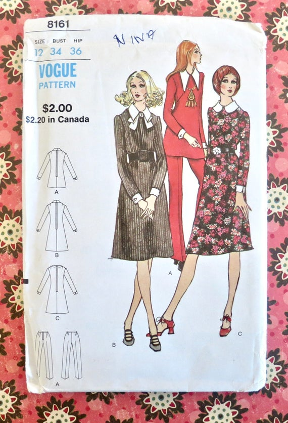 Rare Vintage Pattern Girl Size 12-1975 DressTop /& Trousers Style 1409