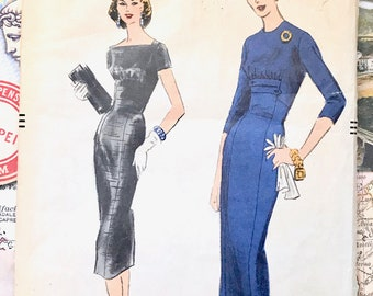 Vintage 1950's  Women's Fitted Dress Sewing Pattern - Vogue 8972 - Size 12, Bust 32