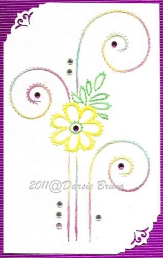 Patrón de bordado Floral Swirls decorativos para tarjetas de | Etsy