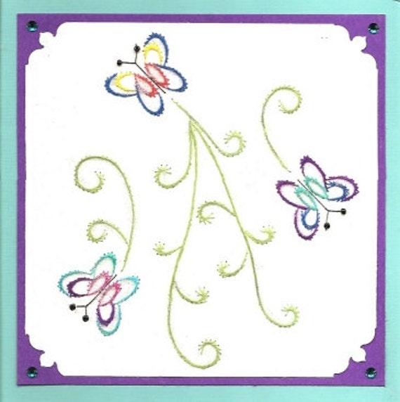 Patron para bordar a camino mariposas para tarjetas de | Etsy