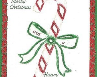 Candy Cane Christmasl Paper Embroidery Pattern for Greeting Cards