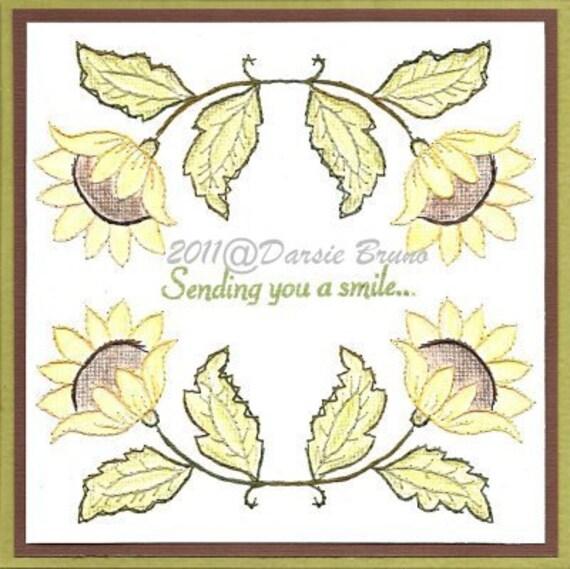 Flora girasol bordado patrones para tarjetas de felicitación | Etsy