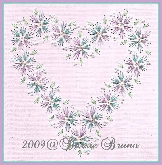 Patrón de bordado de corazón floral boda San Valentín papel | Etsy