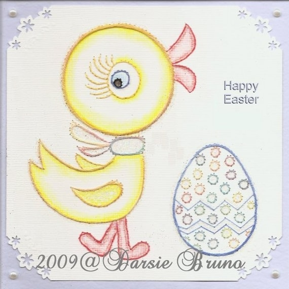 Polluelo de Pascua y huevo patrón de bordado de papel para   Etsy