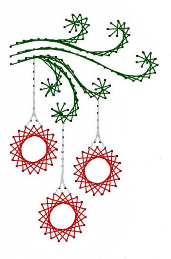 Remolino el patrón de bordado de Navidad adornos papel para | Etsy