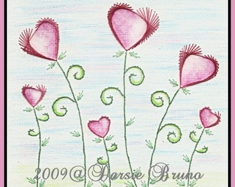 Heart Flowers Valentine Paper Embroidery Pattern for Greeting Cards