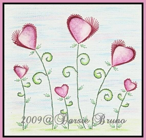 Patrón de bordado de corazón flores San Valentín papel para | Etsy