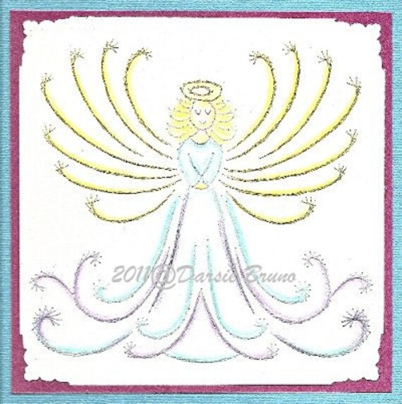 Dulce Angel bordado patrones para tarjetas de felicitación | Etsy