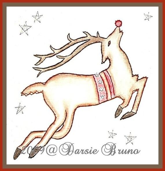 Patrón de bordado Navidad Reno Rudolph papel para tarjetas de felicitación