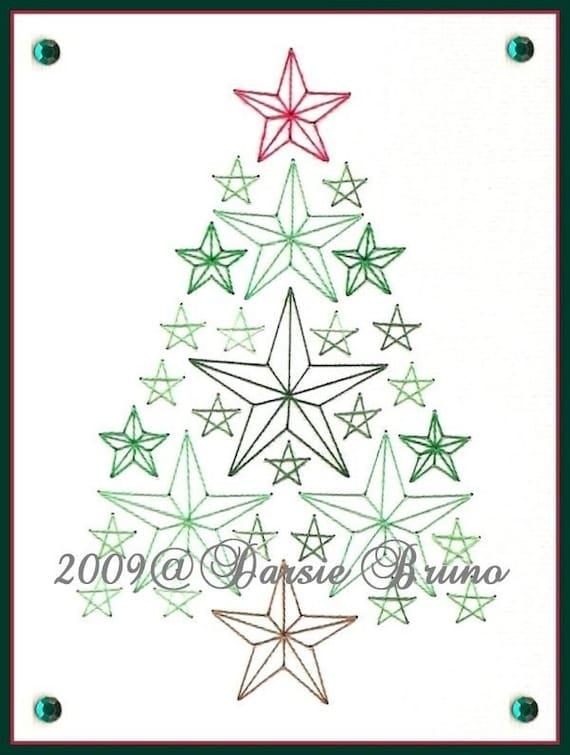 Patrón de bordado de papel de árbol de Navidad estrellas para | Etsy