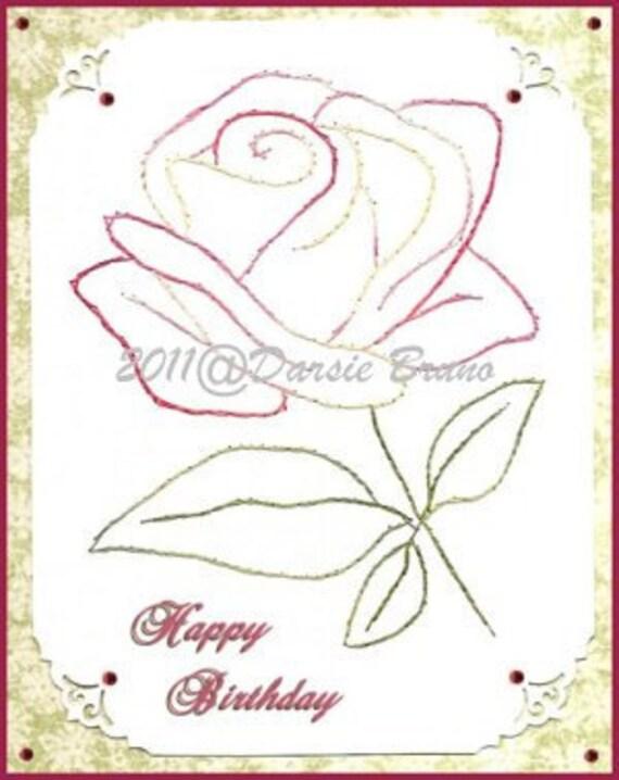 Patrón de bordado flor rosa floral para tarjetas de | Etsy