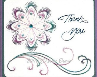 Floral Decorative Flower Embroidery Pattern for Greeting Cards