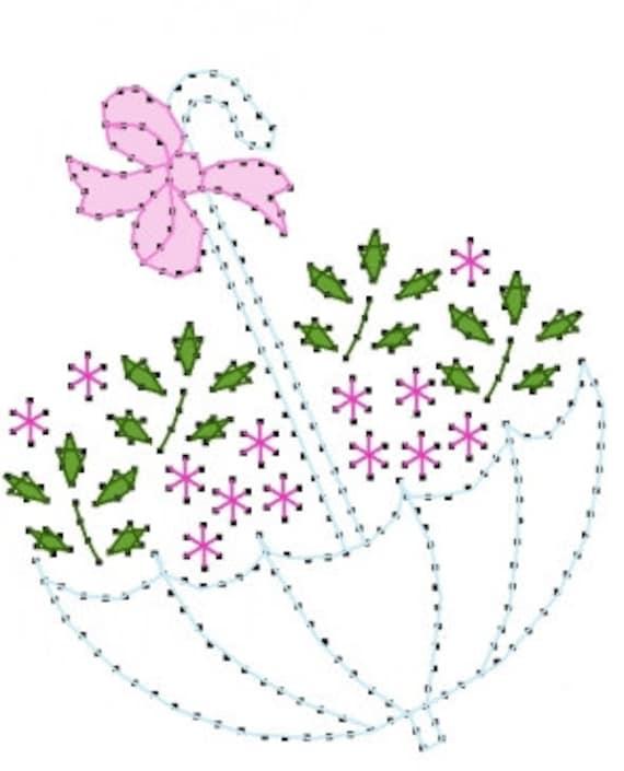 Patrón de bordado floral paraguas para tarjetas de | Etsy