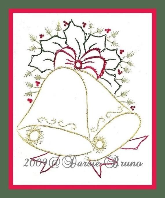 Campanas de Navidad y el patrón de bordado de acebo papel para | Etsy