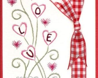 Heart Spray Valentine Embroidery Pattern for Greeting Cards
