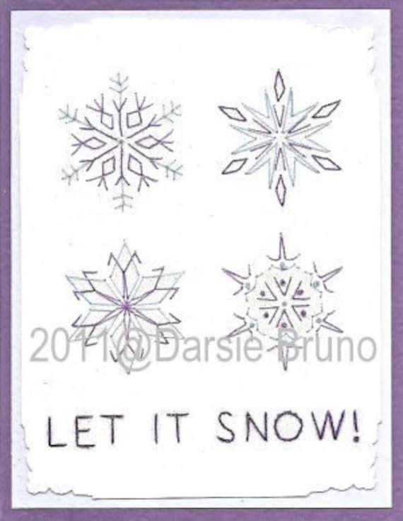 Invierno dejó nieve patrón de bordado de papel para tarjetas | Etsy