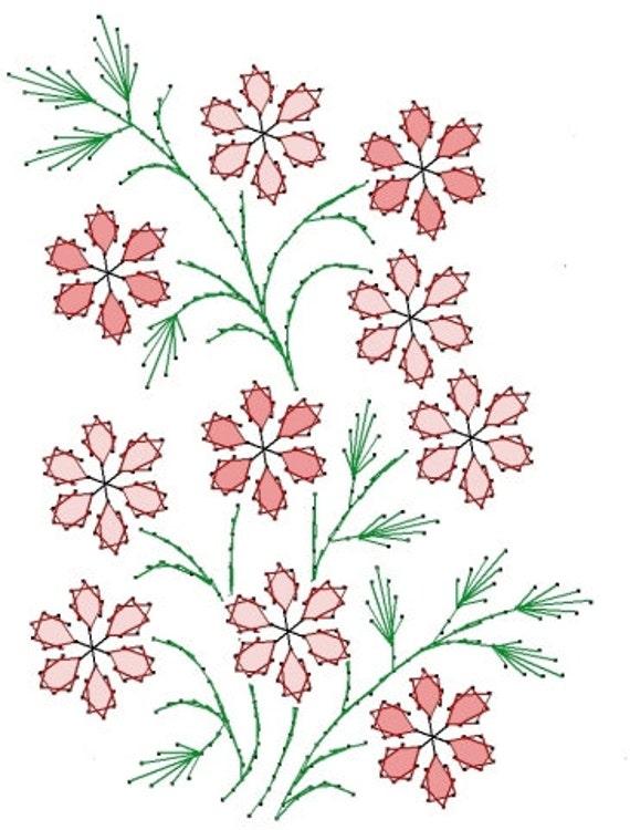 Patrón de flor de flores bordado de flores para tarjetas de | Etsy