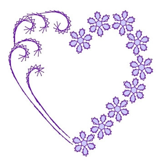 Corazón patrón de bordado flor remolino San Valentín papel | Etsy