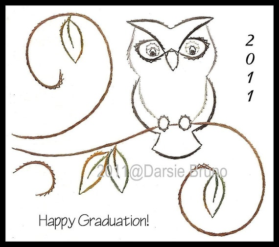 Wise owl graduation paper embroidery pattern for greeting etsy image 0 m4hsunfo