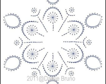 Winter Snowy Flake Paper Embroidery Pattern for Greeting Cards