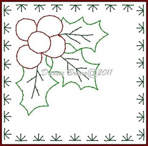 Holly Leaves Frame Christmas Embroidery Pattern For Greeting Etsy