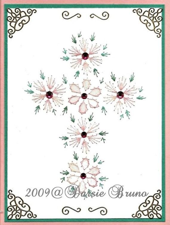 Flores Santa Cruz patrón de bordado de papel para tarjetas de | Etsy