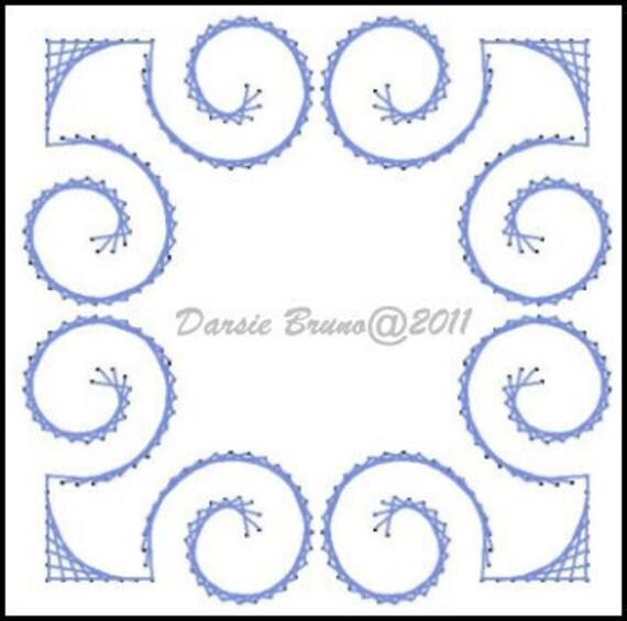 Patrón de bordado de papel Deco Swirly marco para tarjetas de | Etsy
