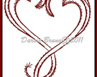 Deco Heart Valentine Embroidery Pattern for Greeting Cards