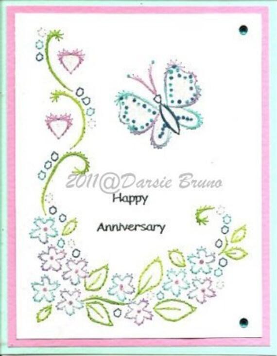 Patrón de bordado floral mariposa para tarjetas de | Etsy